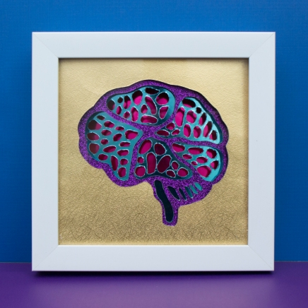 Brain Framed Hand-Cut Paper